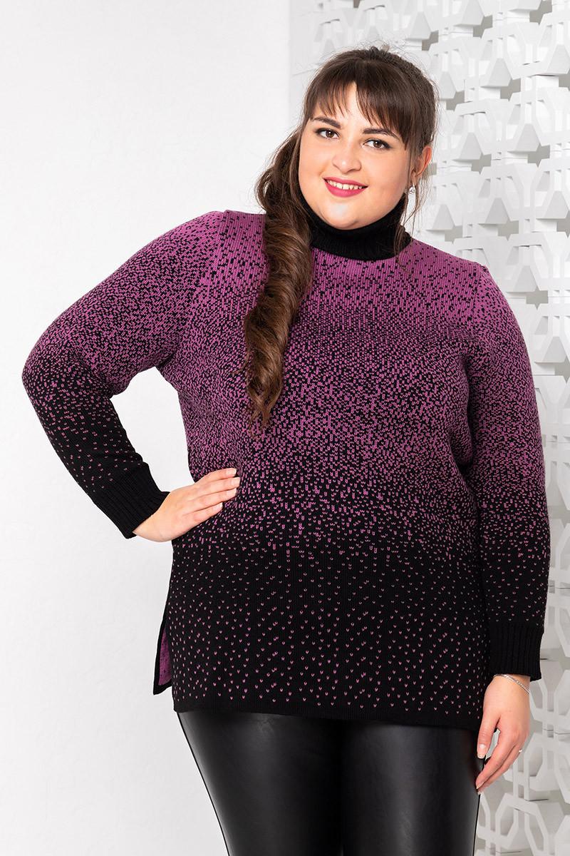 Красивый вязаный свитер больших размеров Снег фрез
