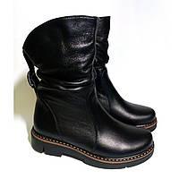 Ботинки полусапожки женские зимние кожаные на платформе. Код: 102 зима
