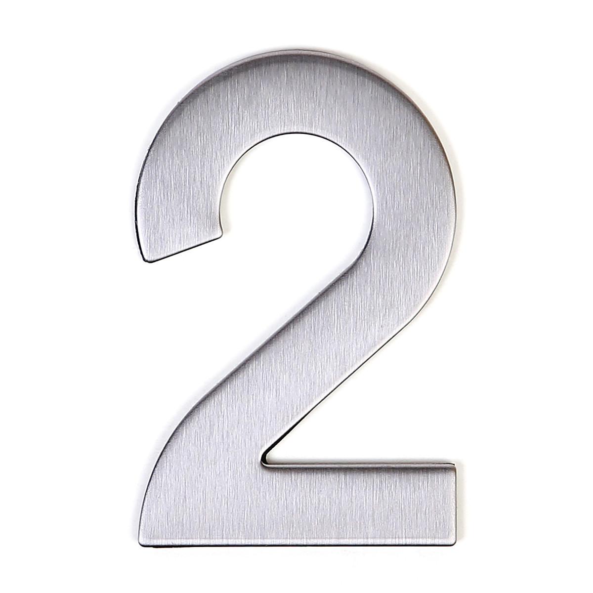Номер на дверь Larvij цифра 2 нержавеющая сталь (LNS4 SS #2)