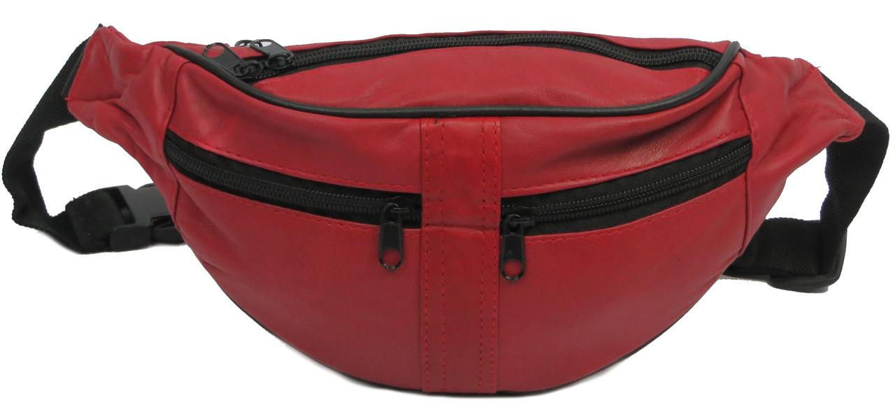 Сумка поясная из натуральной кожи Cavaldi 901-353 red, красный, фото 1