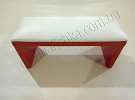 Маникюрная подставка для рук (Подлокотник) белого цвета на красных ножках
