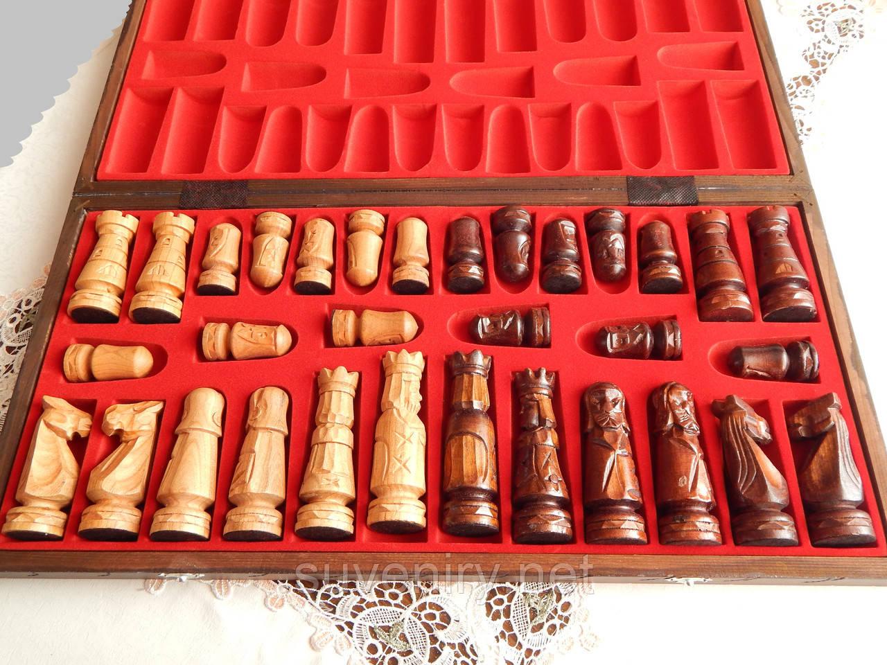 Деревянные резные шахматы ручная работа 60*60см