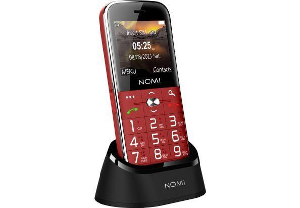 Телефон кнопочный бабушкофон с подставкой для зарядки и мощной батареей Nomi i220 красный