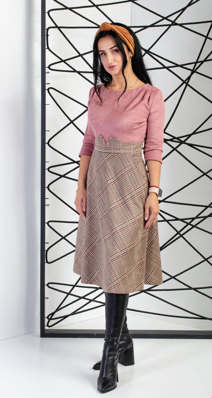 Платье замшевое двухфактурное розового цвета с рукавом три четверти