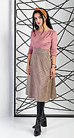 Платье замшевое двухфактурное розового цвета с рукавом три четверти, фото 1