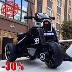 """Детский Электро Мотоцикл M 4113 EL-2, кожаное сиденье, черный""""2 Мотора х 25 W"""
