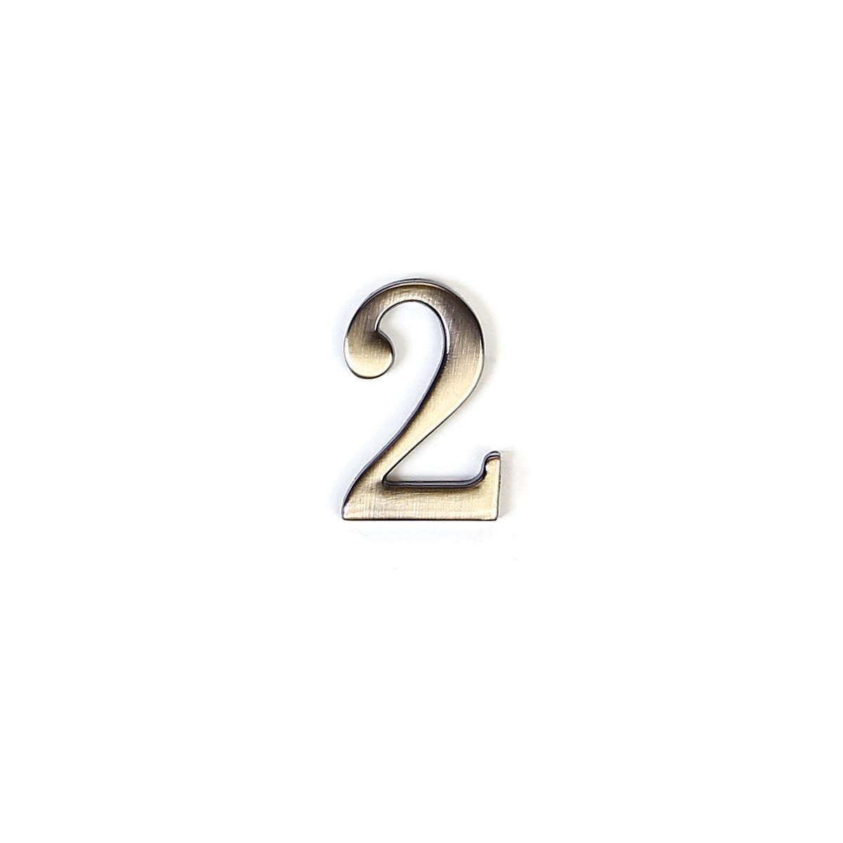 Номер на дверь из цинка Larvij цифра 2 антик бронза (LNZ4 AB #2)