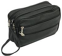 Мужская кожаная сумка-борсетка 41393 Andrzej черный, фото 1
