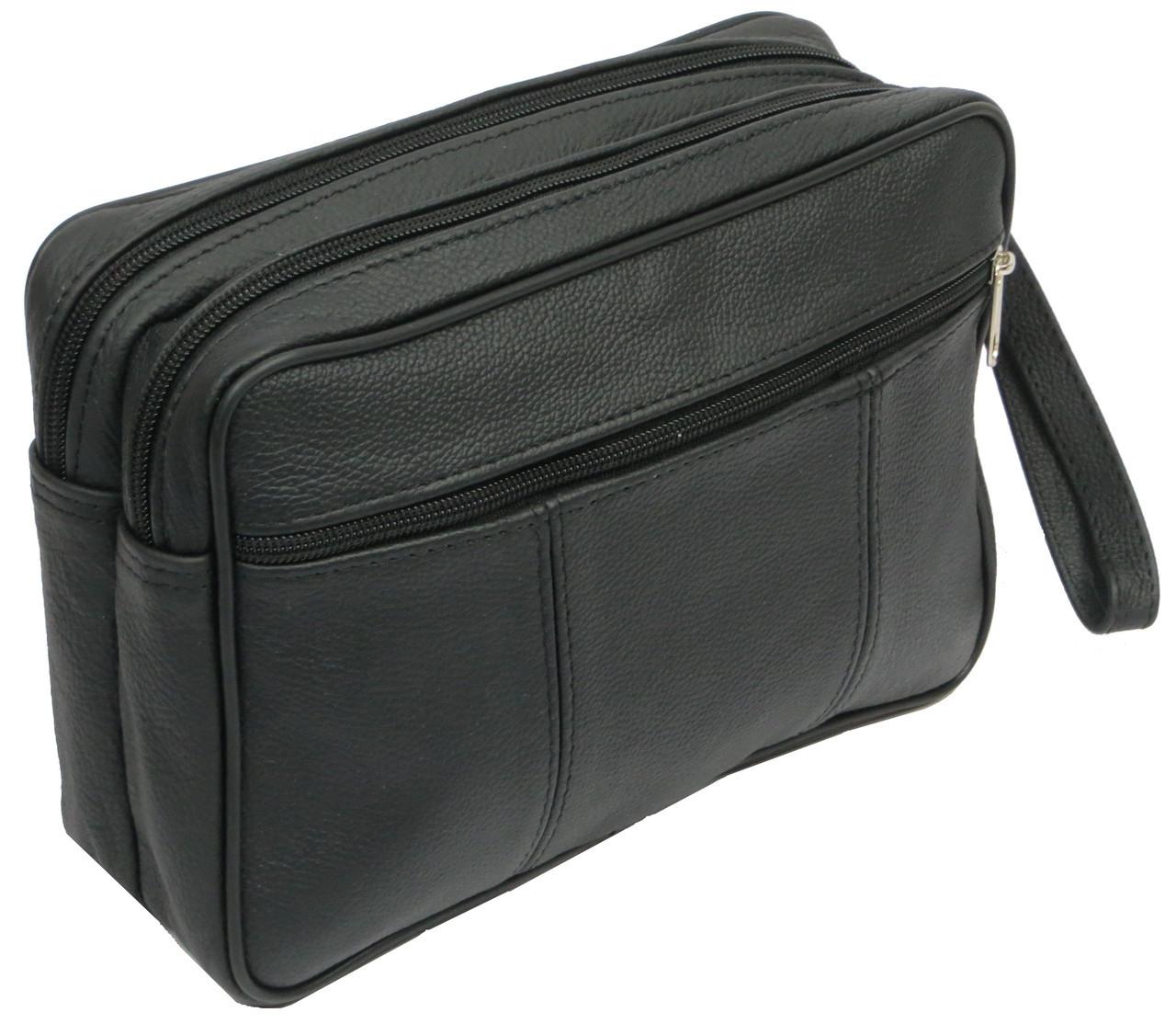 Мужская кожаная сумка-борсетка 41394 MICHAL черный, фото 1
