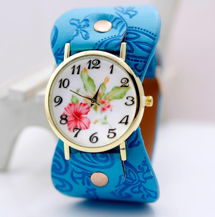 Наручные часы женские с голубым ремешком код 243