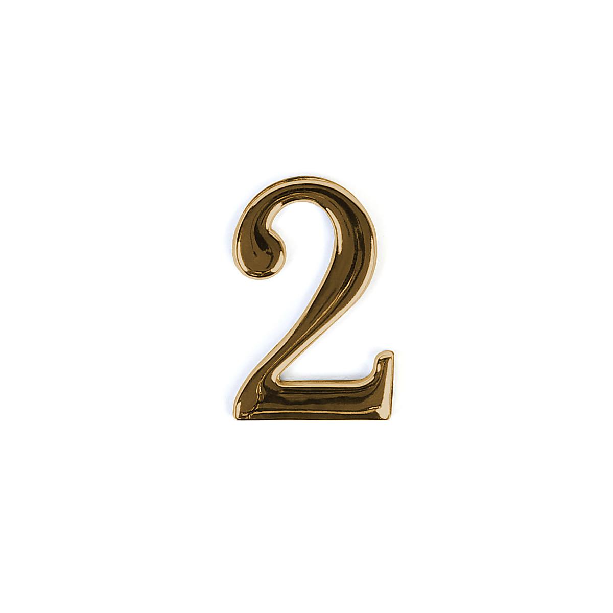 Номер на дверь Larvij цифра 2 Золото. Номер из цинка (LNZ4 GP #2)