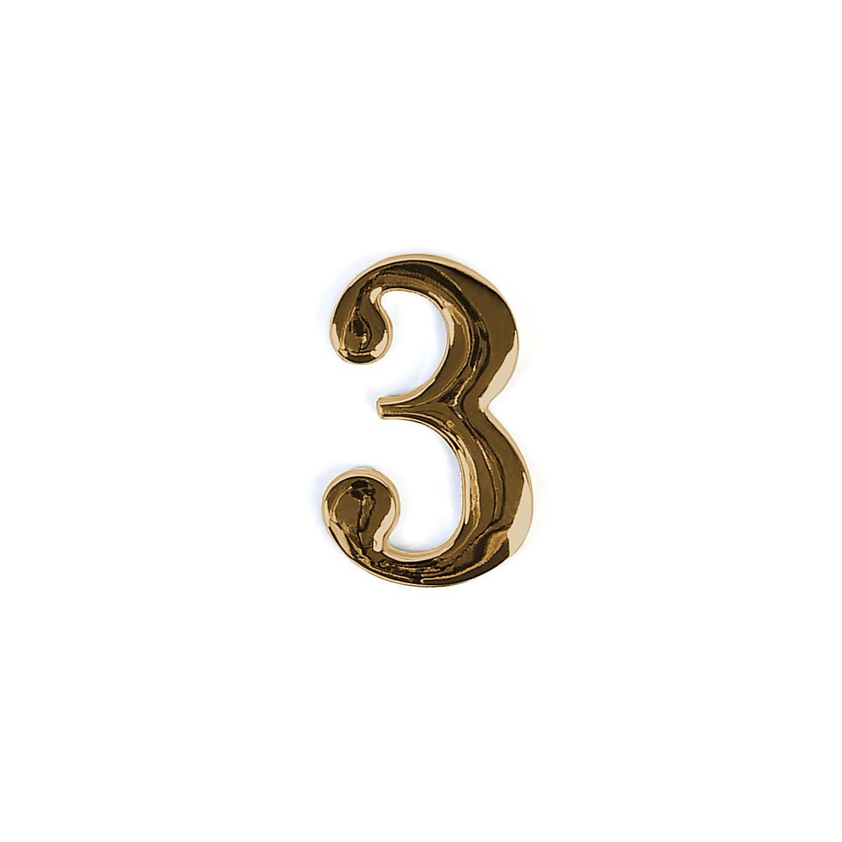 Номер на дверь Larvij цифра 3 Золото. Номер из цинка (LNZ4 GP #3)