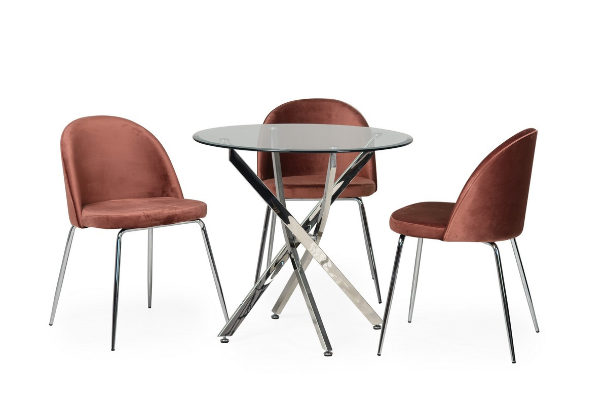 Обеденный стол T-315 прозрачный D80*73(H)