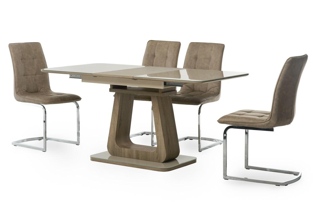 Стол МДФ+стекло ТМL-521-1 капучино+дуб