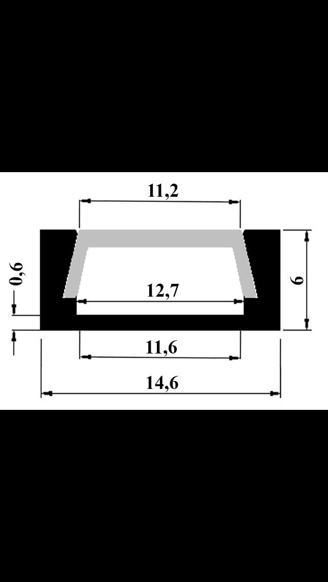 Алюминиевый накладной LED профиль ЛП-5 анод + линза ровная