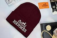 Женская шапка в стиле HERMES бордовая
