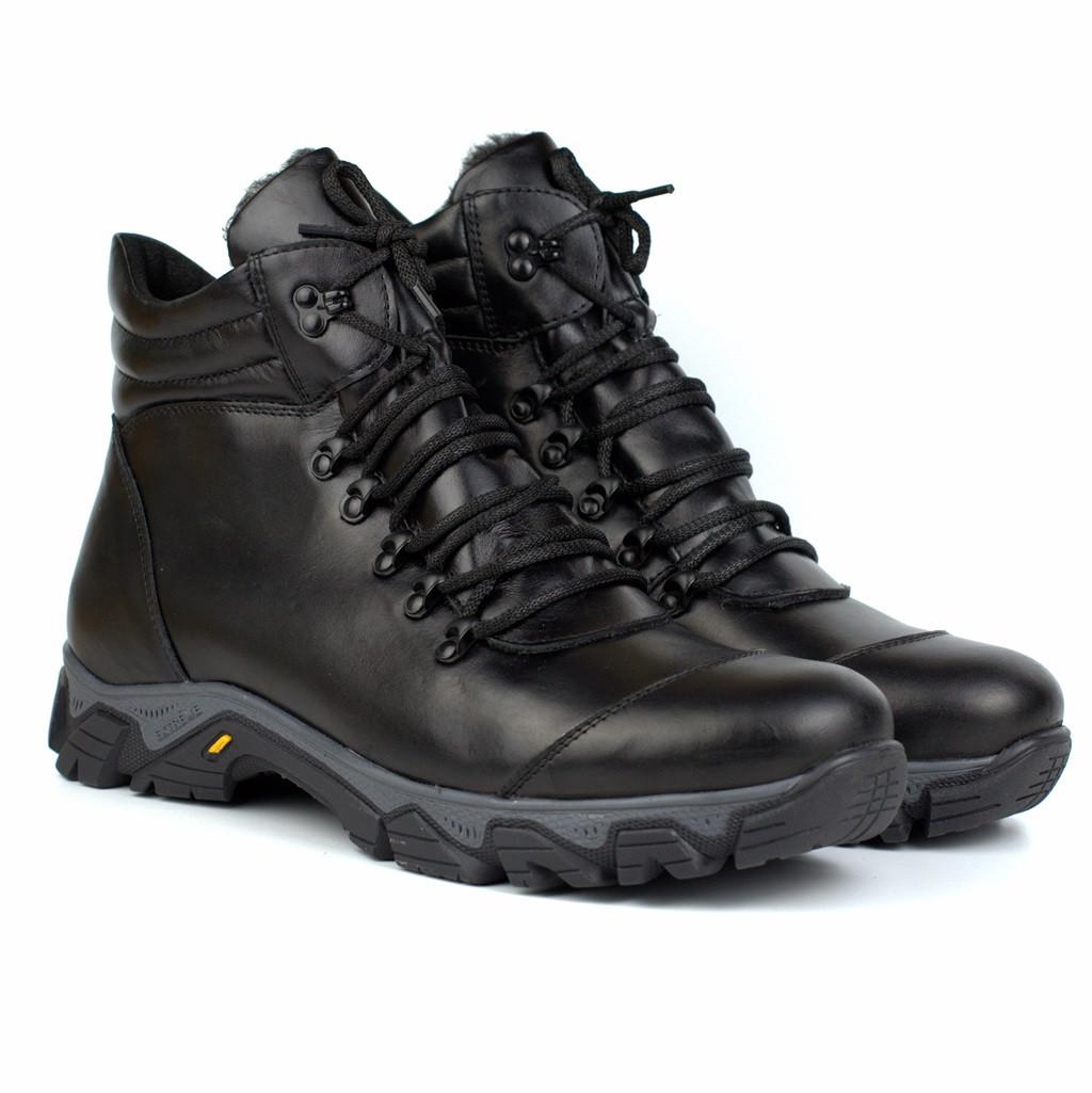 Зимние черные кожаные ботинки на овчине мужская обувь Rosso Avangard Pro Lomerflex Black Leather