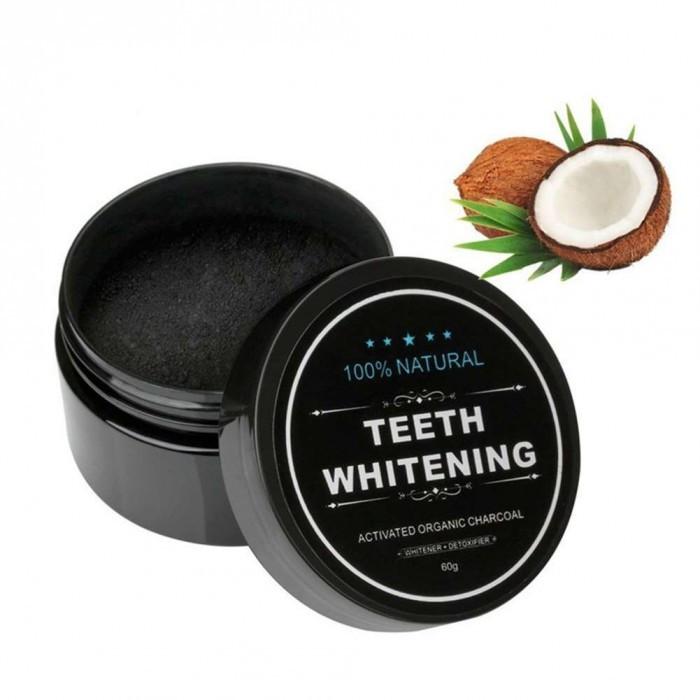 Порошок для отбеливания зубов Teeth Whitening натуральный, черный, органический, 30 гр