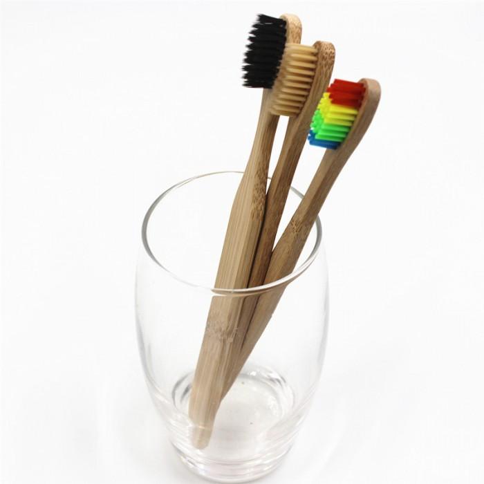 Зубная щетка, из натурального бамбука, мягкая, угольная, 1 шт