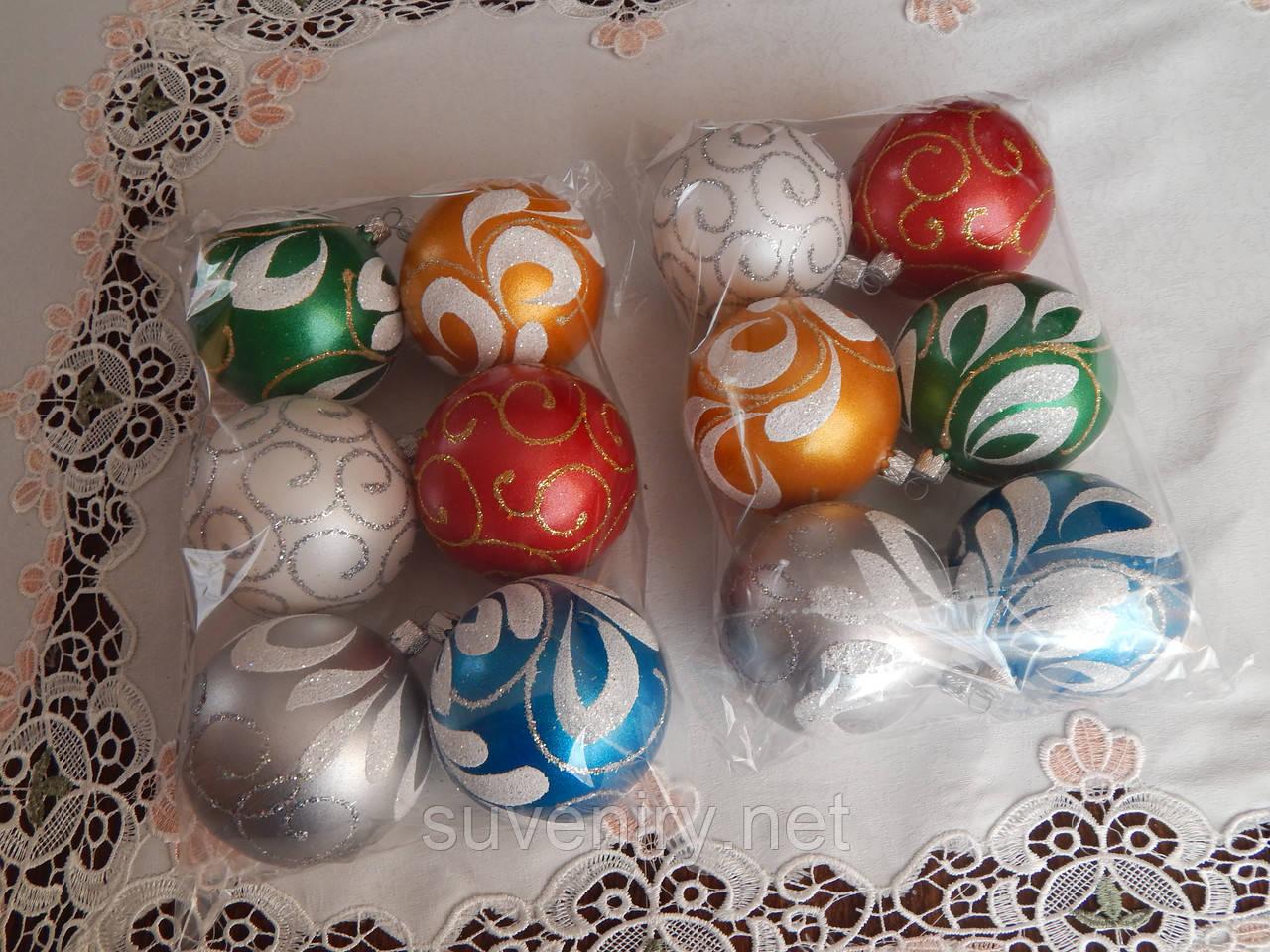 Новогодние шары на елку ручная работа 8см