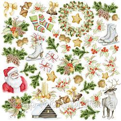 """Лист с картинками для вырезания 30*30 см, набор """"awaiting christmas"""" Фабрика декора"""