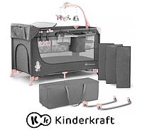 Детская кроватка Kinderkraft JOY + аксессуары (серый и розовый )