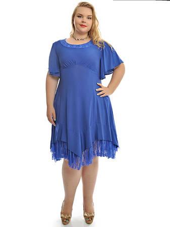 Платье расклешенное с гипюровым воланчиком
