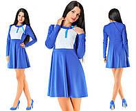 Платье синее с белым кружевом
