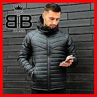 Куртка мужская зимняя с капюшоном,  демисезонная в стиле найк, цвет черный