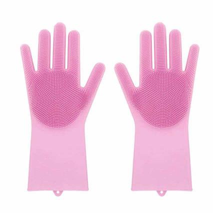 Хозяйственные силиконовые перчатки для уборки и мытья посуды Magic Silicone Gloves Розовый