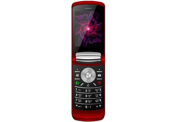 Кнопочный телефон раскладушка на 2 сим карты с большим экраном Nomi i283 красный