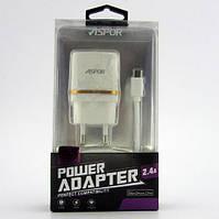 Сетевое зарядное устройство Aspor A828 (2 USB/2.4A) + кабель Micro USB