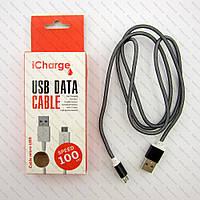 Кабель iCharge Micro usb, сетка