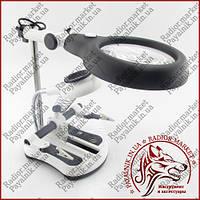 Тримач для пайки Третя Рука MG16130-108C, акумуляторна підсвічування, змінні лінзи