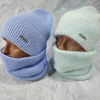 Шапка женская, шарф женский, комплект 2 в 1, голубой
