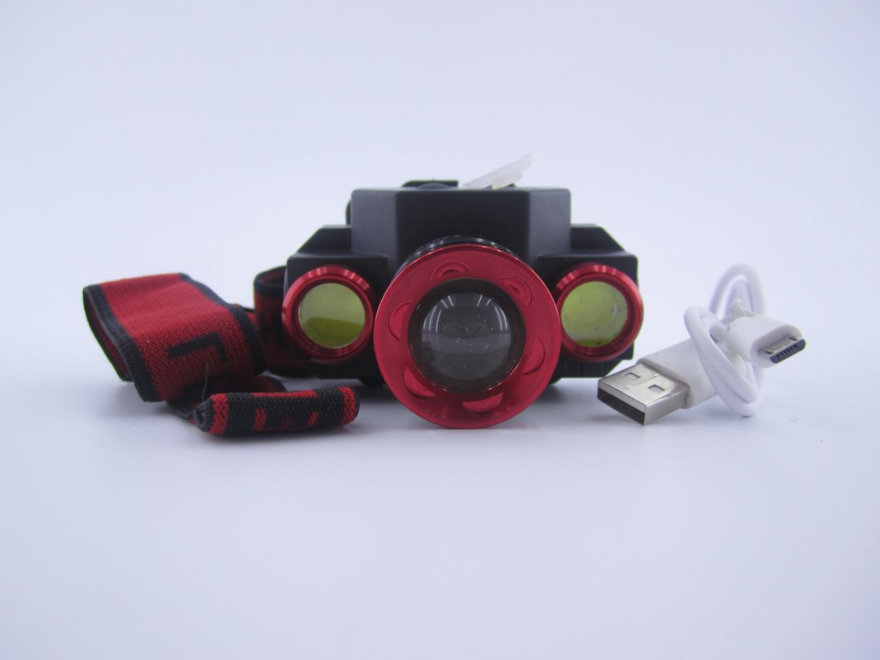 Фонарик налобный X-Balog от аккумулятора Li-on 18650 BL-608-T6 зарядка от Micro USB