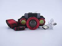 Фонарик налобный X-Balog от аккумулятора Li-on 18650 BL-608-T6 зарядка от Micro USB, фото 1