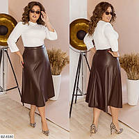 Расклешенная юбка за колено эко кожа размеры 48-58 арт 159
