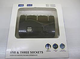 Автомобильный разветвитель прикуривателя 3 гнезда + 2 USB с тумблером № 1506А