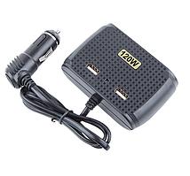 Автомобільний розгалужувач прикурювача IN-CAR № 1512 12-24V 120W 3 гнізда + 2 USB