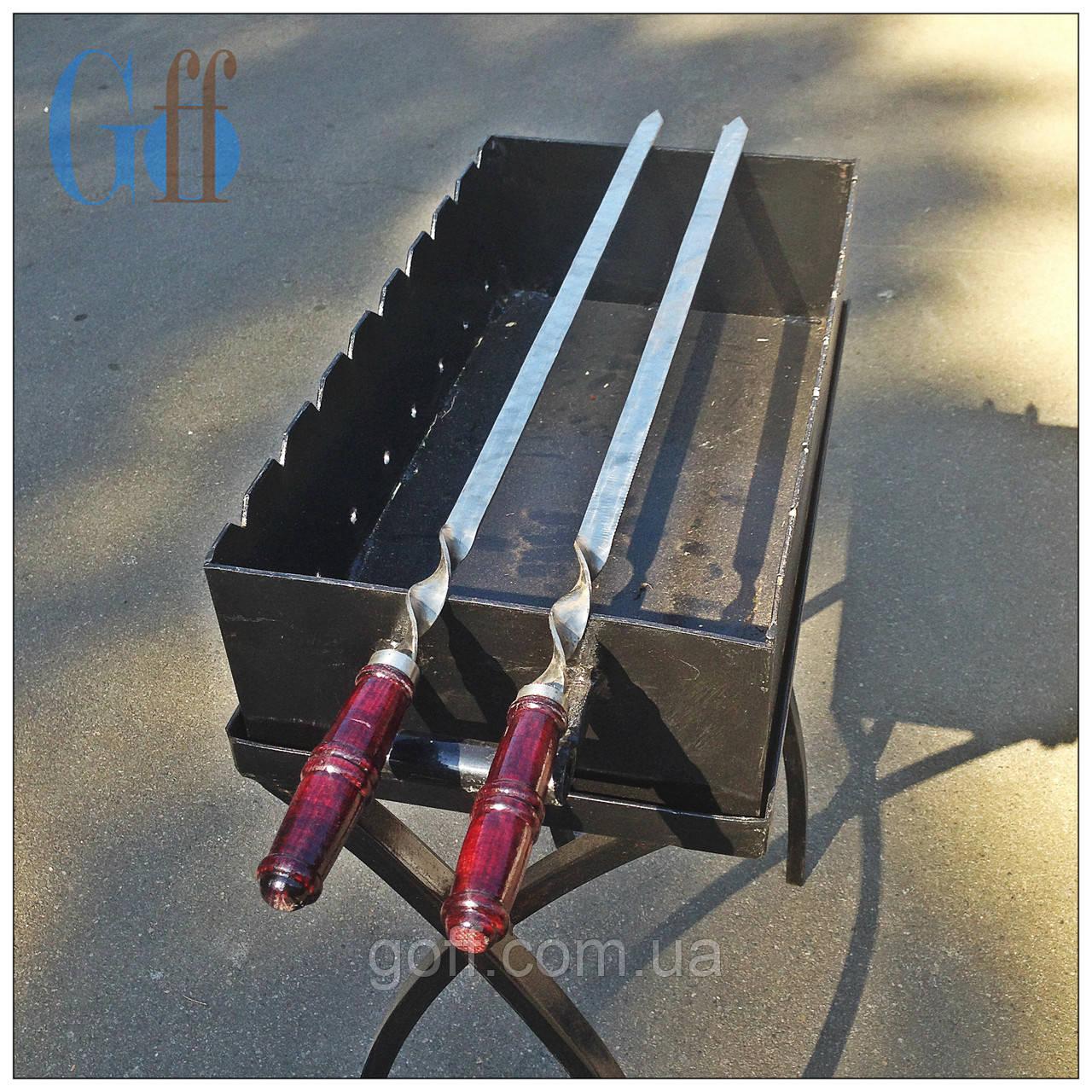Шампур плоский, Шампур 80 см., Шампур с деревянной ручкой