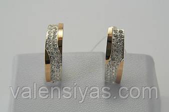 Елегантні сережки зі срібла з золотом і і фіанітами, фото 2