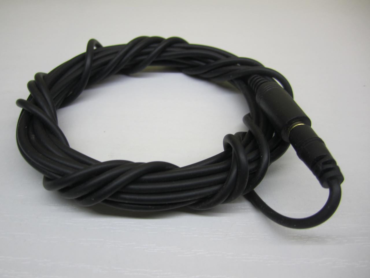 Кабель удлинитель mini jack 3.5мм 3.0м черный (тонкий силикон)