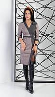 Платье женское прилегающим силуэтом из замша двух цветов серая клетка и темно-серый