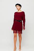 Короткое бордовое теплое платье с кружевом по низу, фото 1