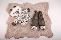 Детский зимний костюм, куртка и полукомбинезон на овчине