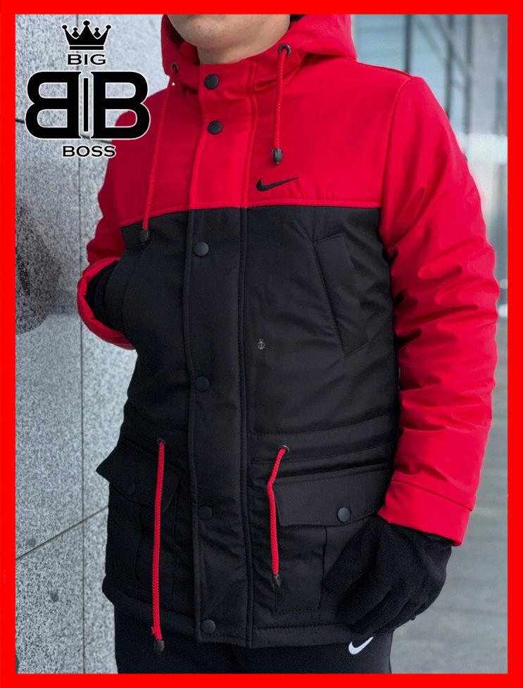 Парка мужская зимняя с капюшоном теплая, куртка удлиненная Winter Parka красный