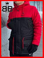 Парка мужская зимняя с капюшоном, .можно и комплектом куртка найк,цвет красный с черным!