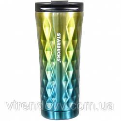Термокружка хамелеон Starbucks тамблер Старбакс кружка термос Diamond Waves 500 мл Желтая Бирюзовая