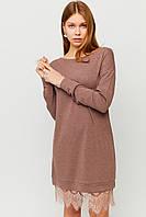 Короткое осеннее платье с кружевом по низу, фото 1